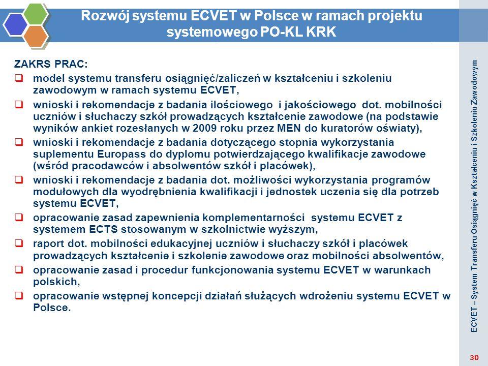 Rozwój systemu ECVET w Polsce w ramach projektu systemowego PO-KL KRK