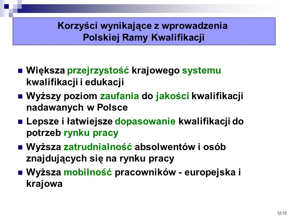 Korzyści wynikające z wprowadzenia Polskiej Ramy Kwalifikacji