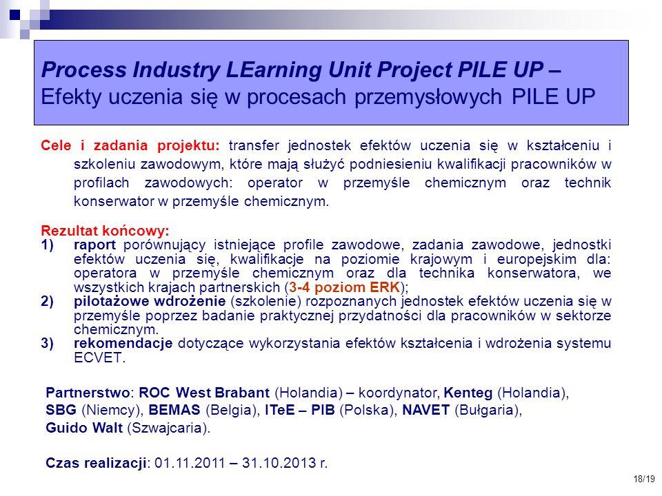Process Industry LEarning Unit Project PILE UP – Efekty uczenia się w procesach przemysłowych PILE UP