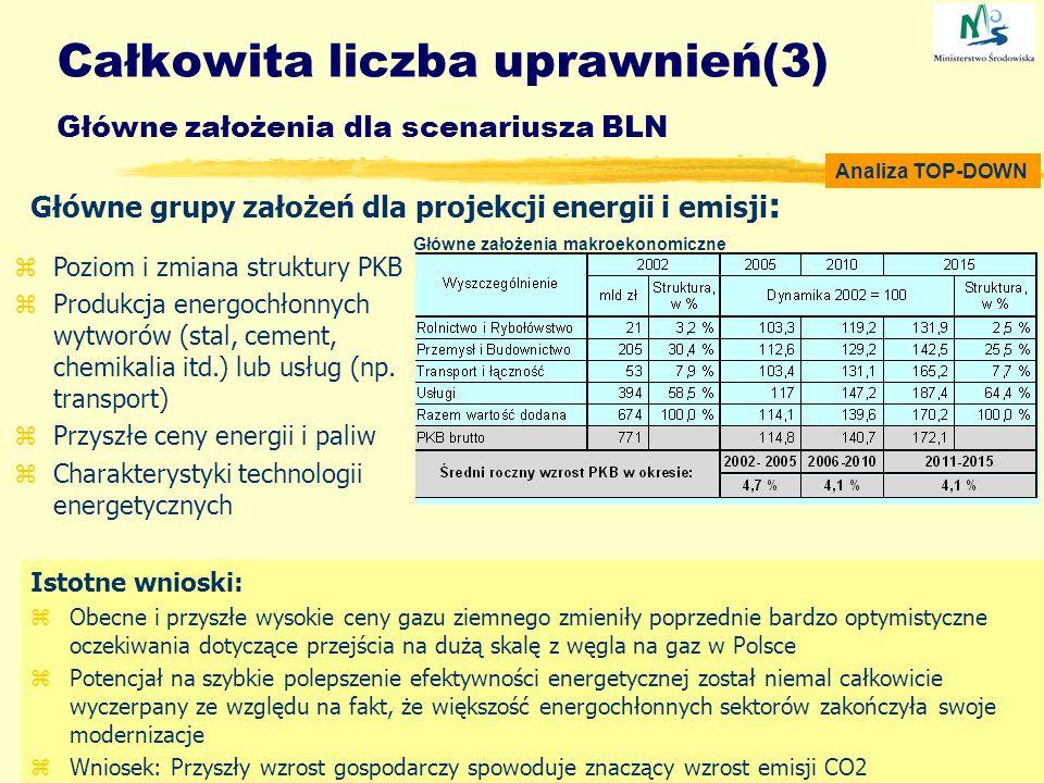 Całkowita liczba uprawnień(3) Główne założenia dla scenariusza BLN