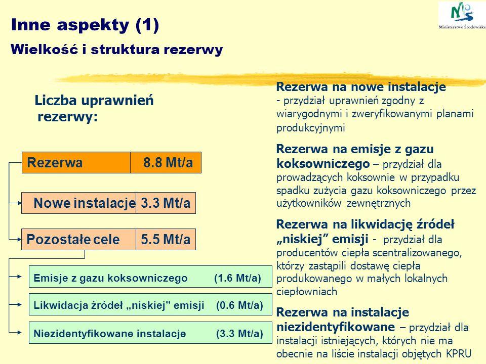 Inne aspekty (1) Wielkość i struktura rezerwy