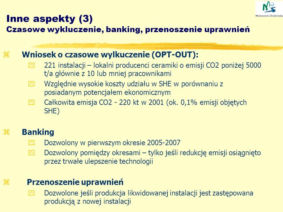 Inne aspekty (3) Czasowe wykluczenie, banking, przenoszenie uprawnień