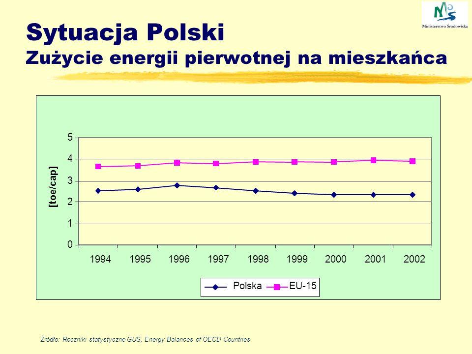 Sytuacja Polski Zużycie energii pierwotnej na mieszkańca