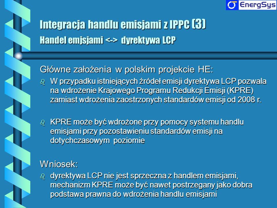 Integracja handlu emisjami z IPPC (3) Handel emjsjami <-> dyrektywa LCP