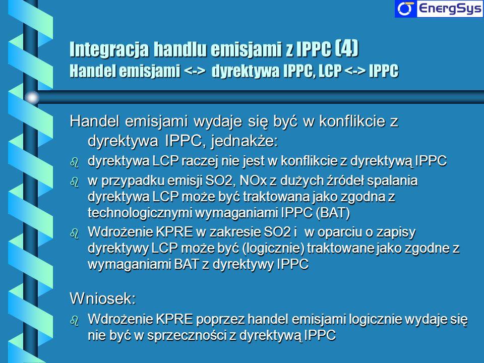 Integracja handlu emisjami z IPPC (4) Handel emisjami <-> dyrektywa IPPC, LCP <-> IPPC