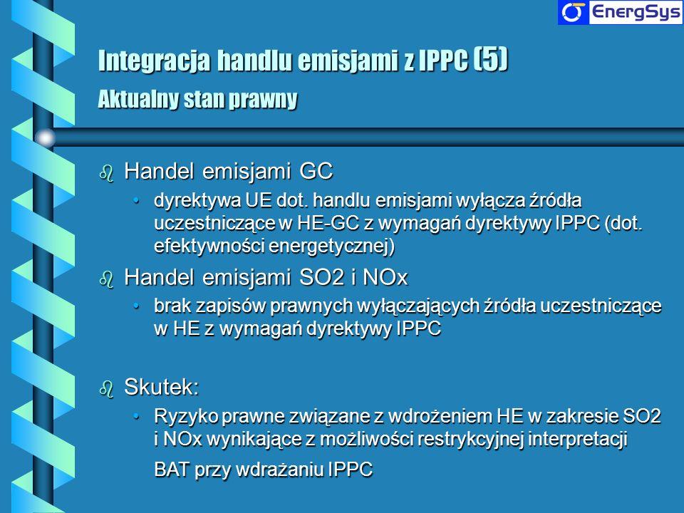 Integracja handlu emisjami z IPPC (5) Aktualny stan prawny