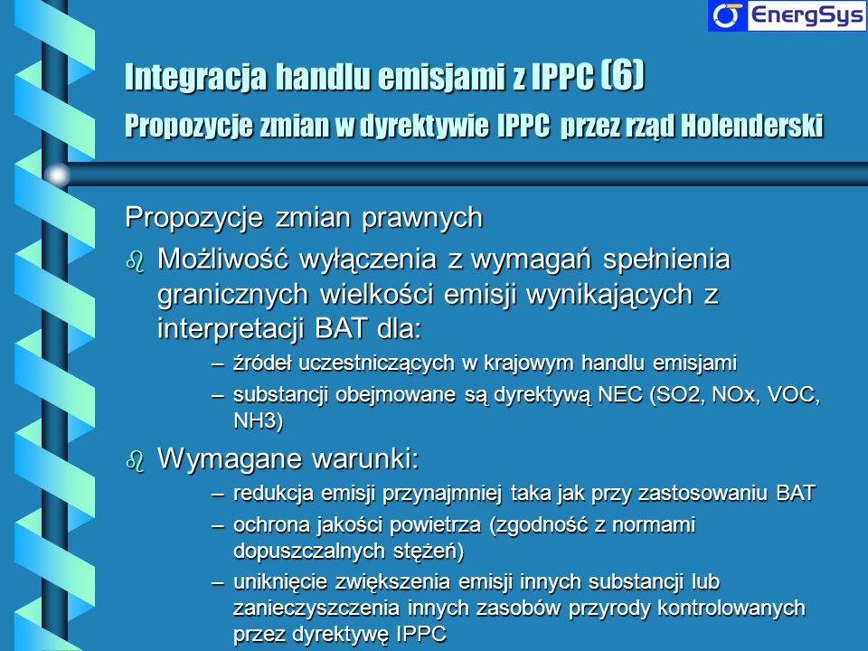 Integracja handlu emisjami z IPPC (6) Propozycje zmian w dyrektywie IPPC przez rząd Holenderski
