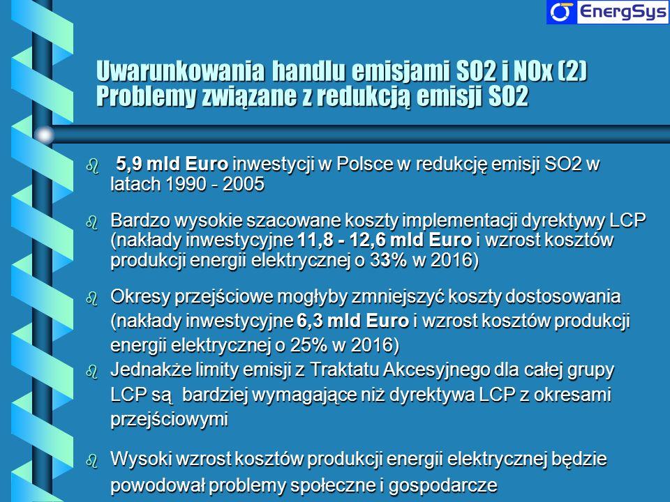 Uwarunkowania handlu emisjami SO2 i NOx (2) Problemy związane z redukcją emisji SO2