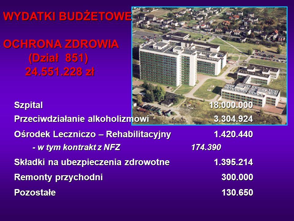 WYDATKI BUDŻETOWE OCHRONA ZDROWIA (Dział 851) 24.551.228 zł