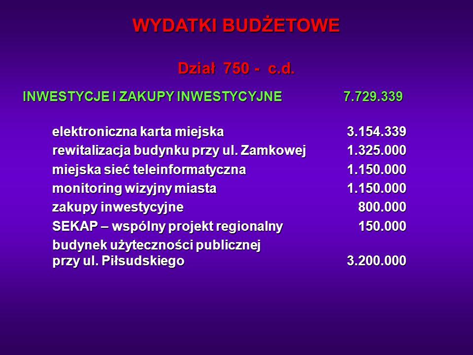 WYDATKI BUDŻETOWE Dział 750 - c.d.