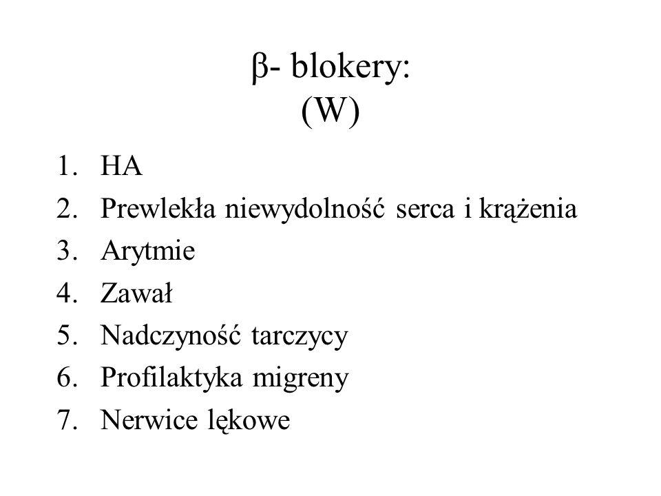 β- blokery: (W) HA Prewlekła niewydolność serca i krążenia Arytmie