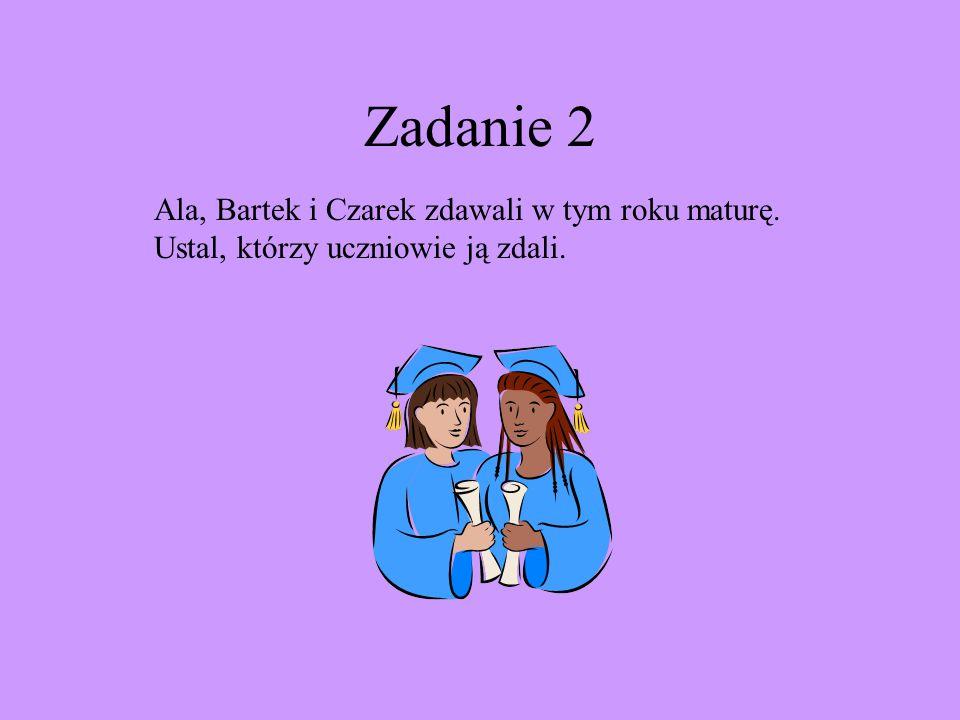 Zadanie 2 Ala, Bartek i Czarek zdawali w tym roku maturę. Ustal, którzy uczniowie ją zdali.