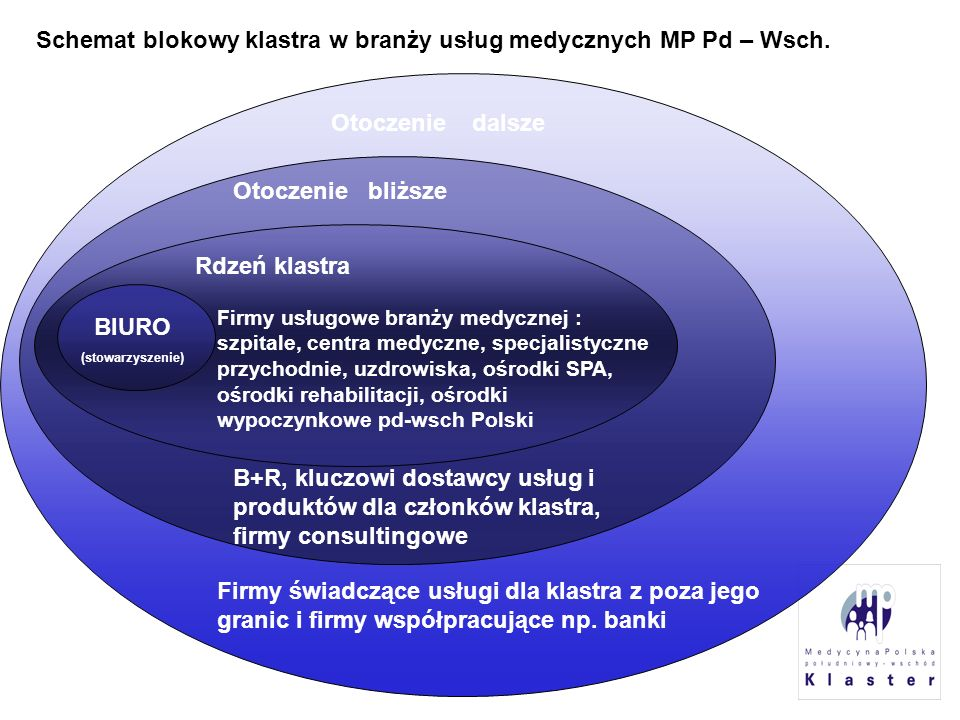 Schemat blokowy klastra w branży usług medycznych MP Pd – Wsch.