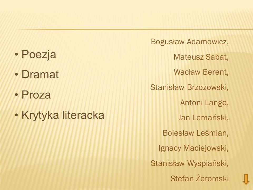 Poezja Dramat Proza Krytyka literacka Bogusław Adamowicz,