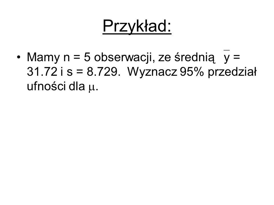 Przykład: Mamy n = 5 obserwacji, ze średnią y = 31.72 i s = 8.729.