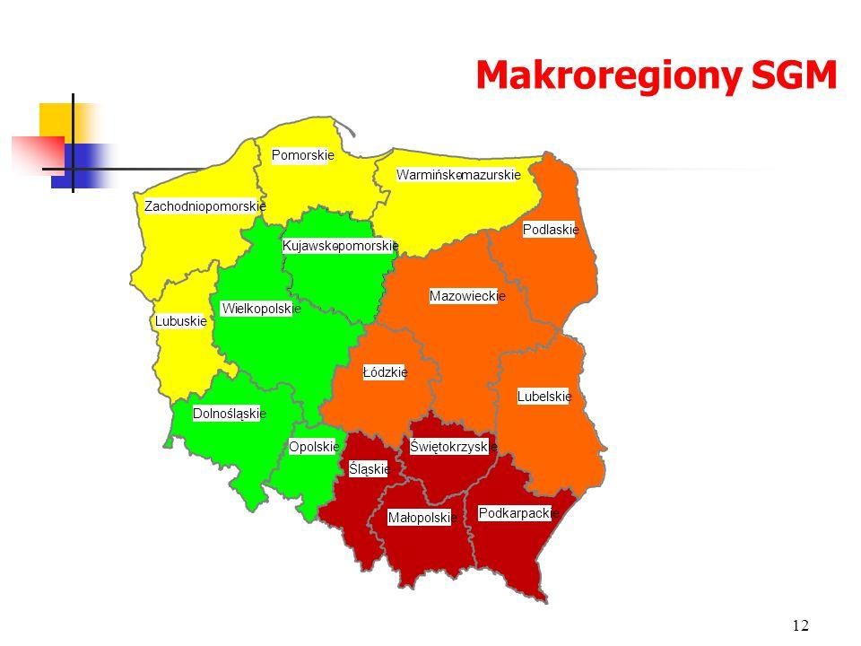Makroregiony SGM Pomorskie Warmińsko - mazurskie Zachodniopomorskie