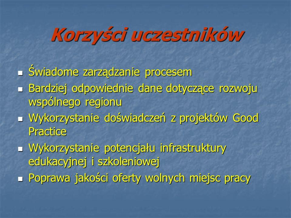 Korzyści uczestników Świadome zarządzanie procesem
