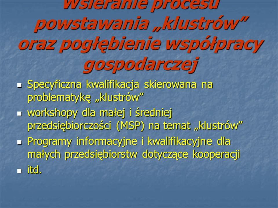 """Wsieranie procesu powstawania """"klustrów oraz pogłębienie współpracy gospodarczej"""