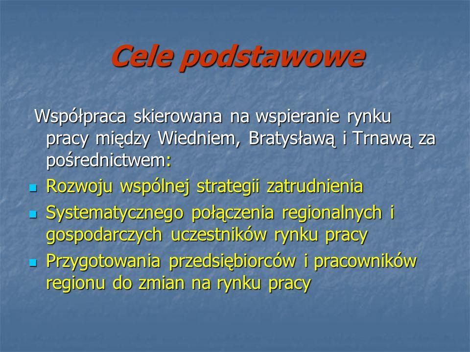 Cele podstawowe Współpraca skierowana na wspieranie rynku pracy między Wiedniem, Bratysławą i Trnawą za pośrednictwem: