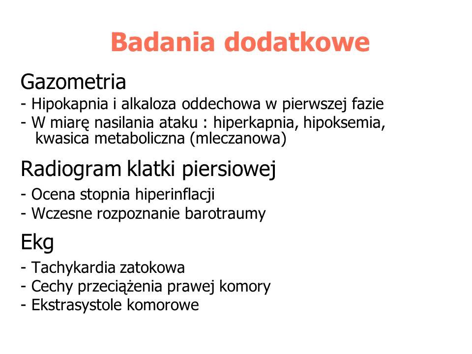Badania dodatkowe Gazometria Radiogram klatki piersiowej Ekg