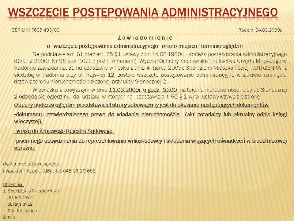 Wszczęcie postępowania administracyjnego