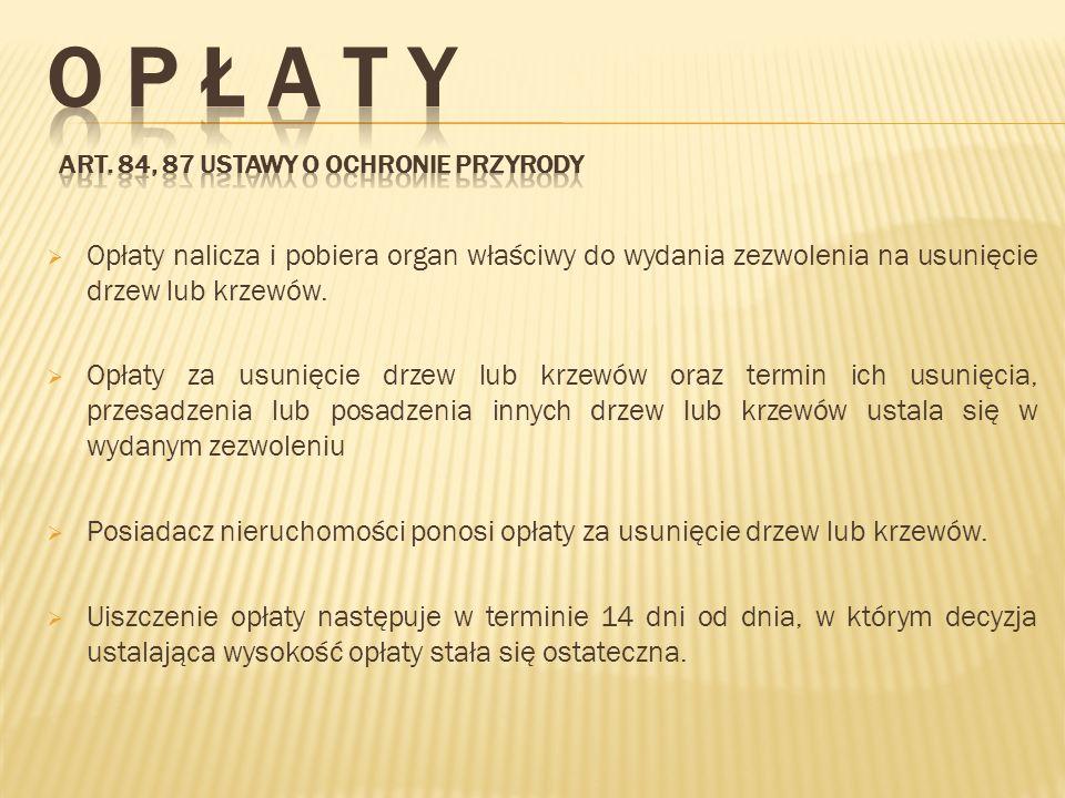 O P Ł A T Y Art. 84, 87 ustawy o ochronie przyrody