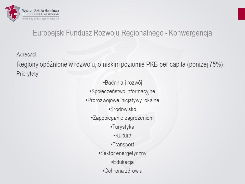 Europejski Fundusz Rozwoju Regionalnego - Konwergencja