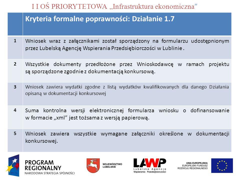 """I I OŚ PRIORYTETOWA """"Infrastruktura ekonomiczna"""