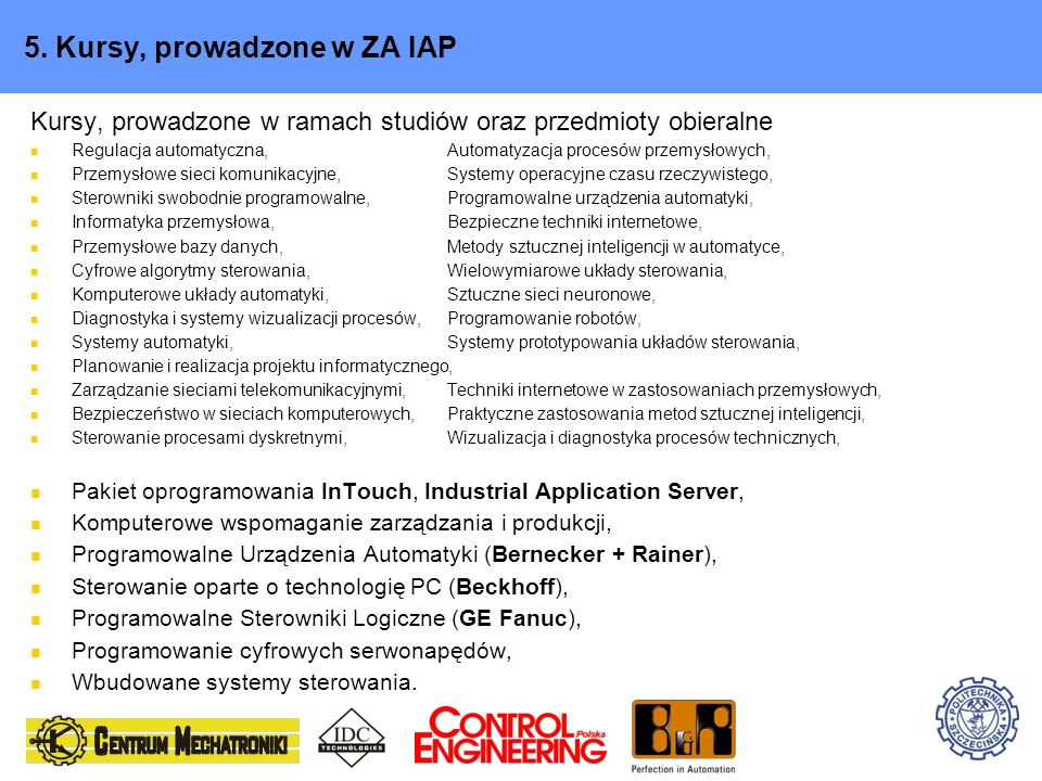 5. Kursy, prowadzone w ZA IAP
