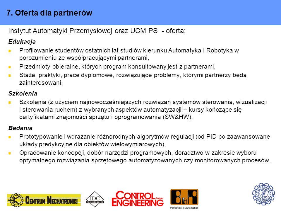 7. Oferta dla partnerówInstytut Automatyki Przemysłowej oraz UCM PS - oferta: Edukacja.