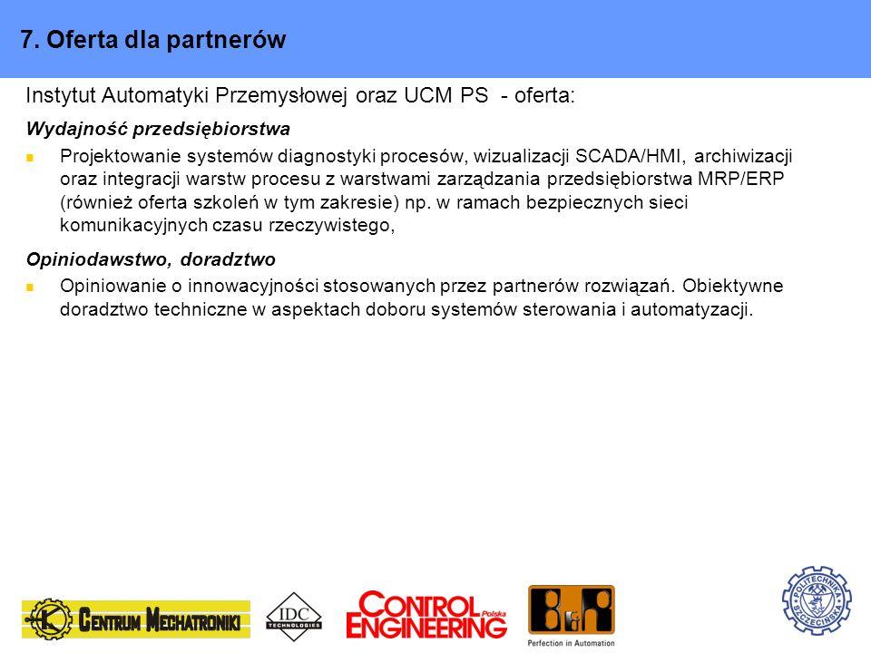 7. Oferta dla partnerówInstytut Automatyki Przemysłowej oraz UCM PS - oferta: Wydajność przedsiębiorstwa.