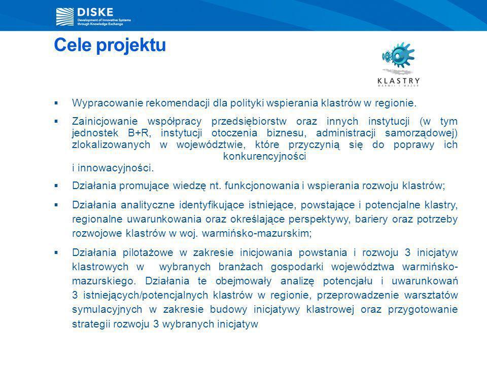 Cele projektu Wypracowanie rekomendacji dla polityki wspierania klastrów w regionie.
