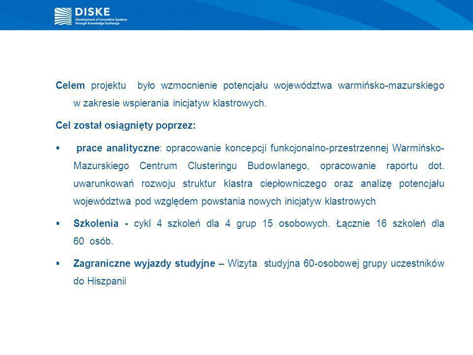 Celem projektu było wzmocnienie potencjału województwa warmińsko-mazurskiego w zakresie wspierania inicjatyw klastrowych.