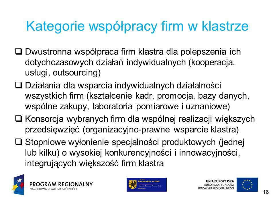 Kategorie współpracy firm w klastrze