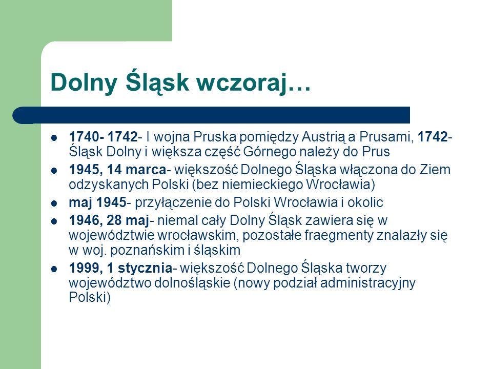 Dolny Śląsk wczoraj… 1740- 1742- I wojna Pruska pomiędzy Austrią a Prusami, 1742- Śląsk Dolny i większa część Górnego należy do Prus.
