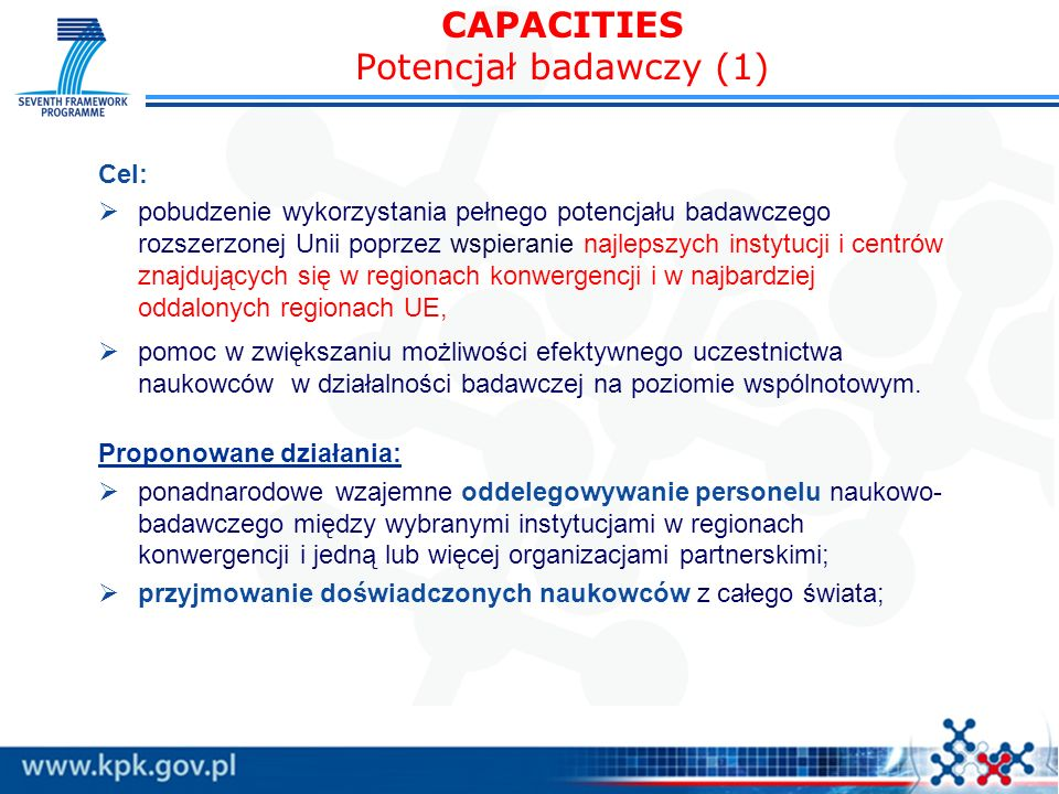 CAPACITIES Potencjał badawczy (1)