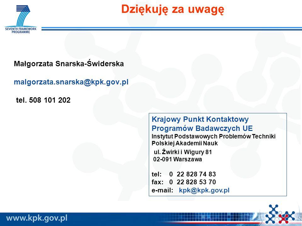 Dziękuję za uwagę Małgorzata Snarska-Świderska malgorzata.snarska@kpk.gov.pl tel. 508 101 202.