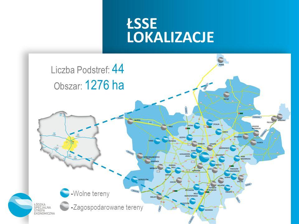 ŁSSE LOKALIZACJE Liczba Podstref: 44 Obszar: 1276 ha Wolne tereny