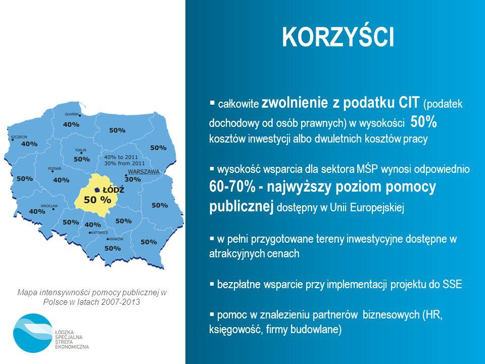 Mapa intensywności pomocy publicznej w Polsce w latach 2007-2013