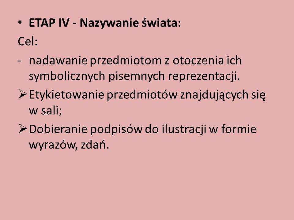 ETAP IV - Nazywanie świata: