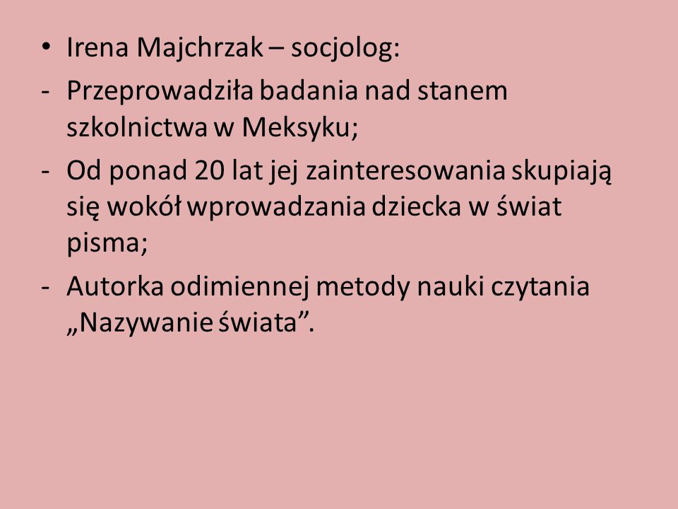 Irena Majchrzak – socjolog: