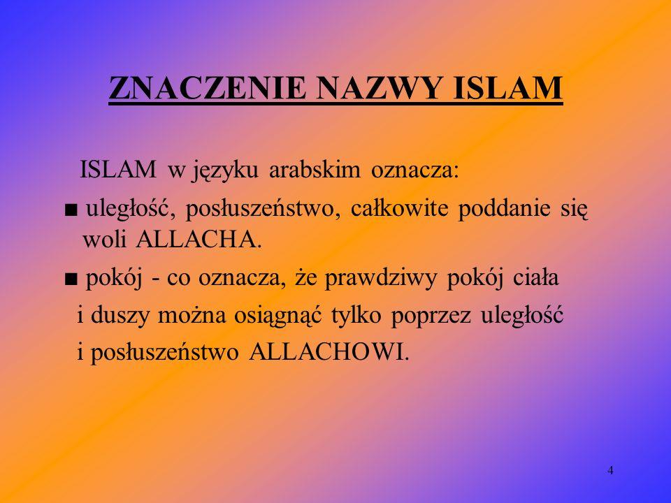 ZNACZENIE NAZWY ISLAM ISLAM w języku arabskim oznacza:
