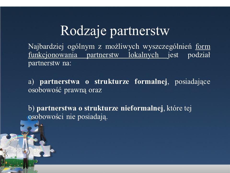 Rodzaje partnerstw Najbardziej ogólnym z możliwych wyszczególnień form funkcjonowania partnerstw lokalnych jest podział partnerstw na: