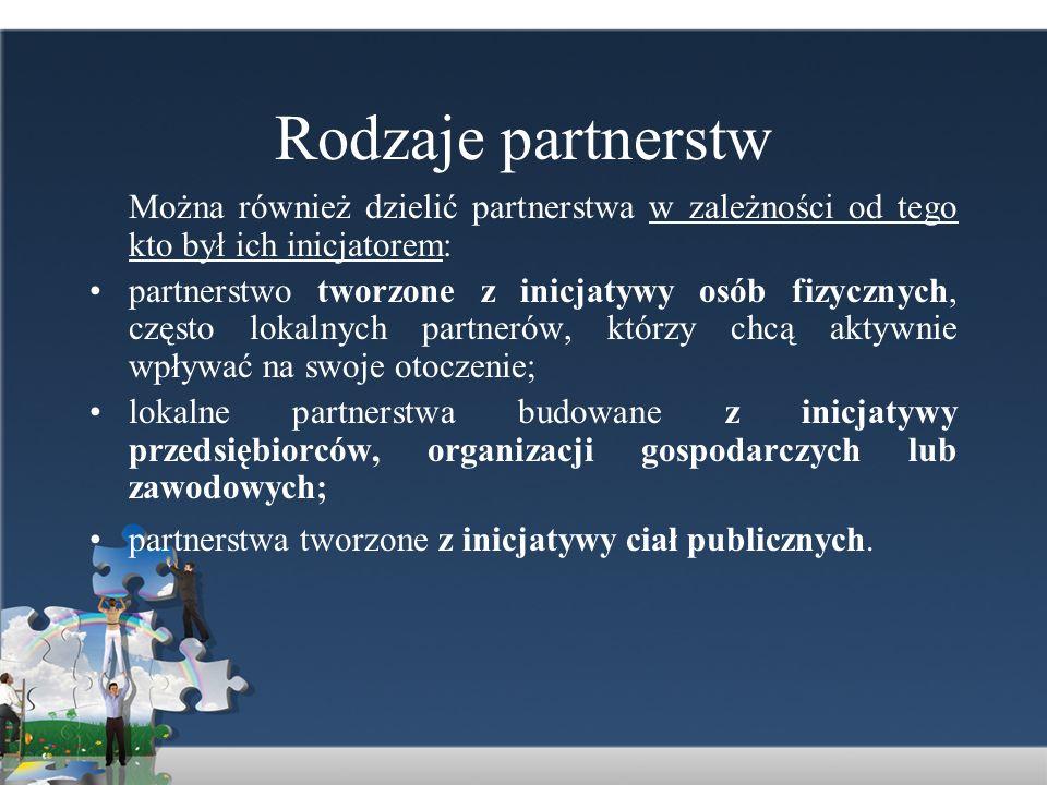 Rodzaje partnerstw Można również dzielić partnerstwa w zależności od tego kto był ich inicjatorem: