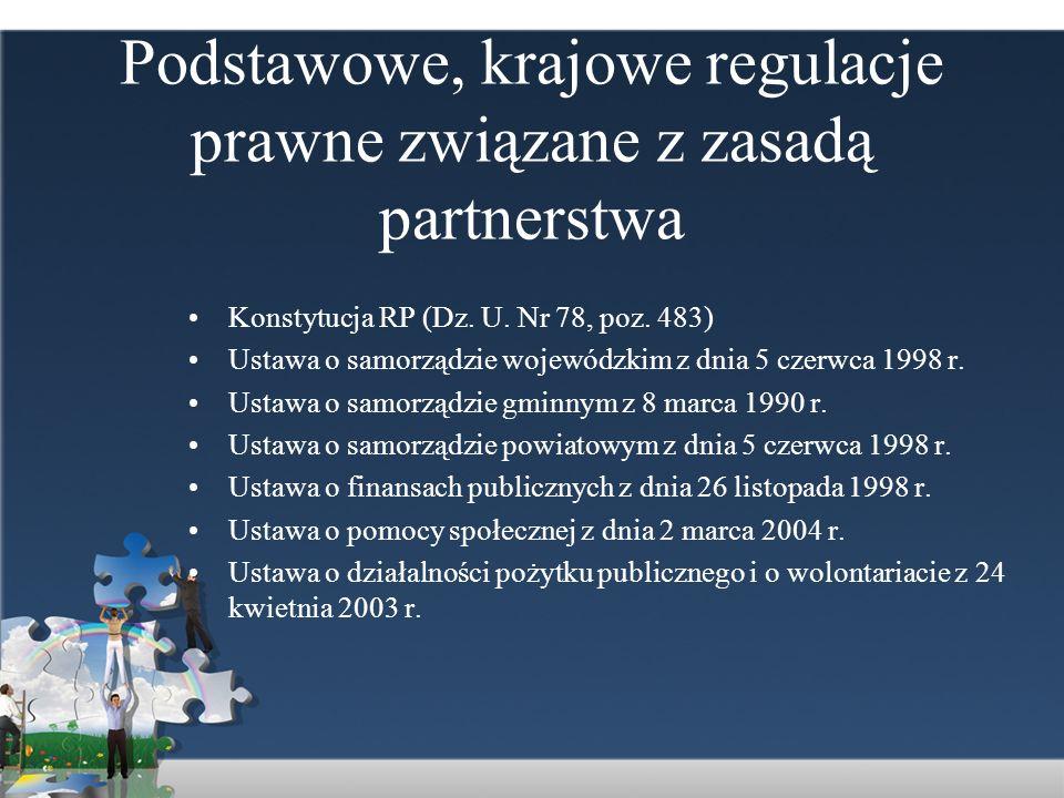 Podstawowe, krajowe regulacje prawne związane z zasadą partnerstwa