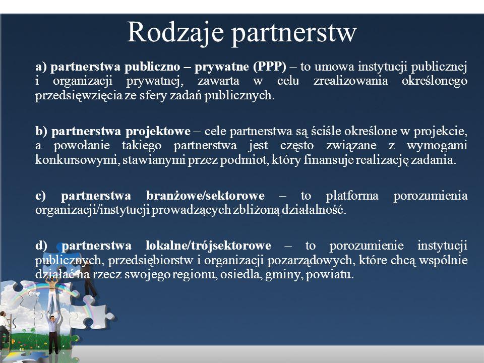 Rodzaje partnerstw
