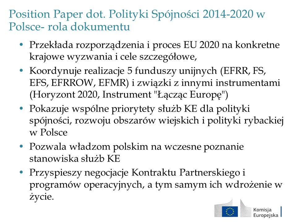 Position Paper dot. Polityki Spójności 2014-2020 w Polsce- rola dokumentu