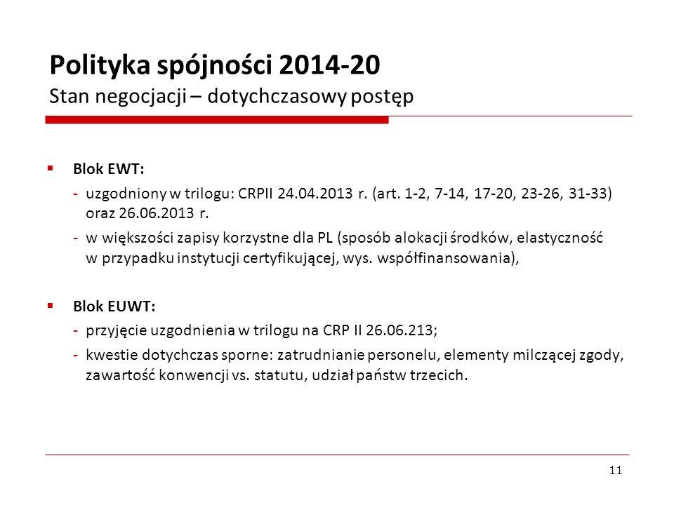 Polityka spójności 2014-20 Stan negocjacji – dotychczasowy postęp