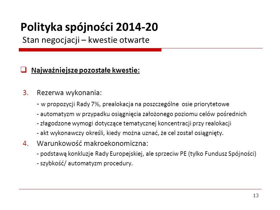 Polityka spójności 2014-20 Stan negocjacji – kwestie otwarte