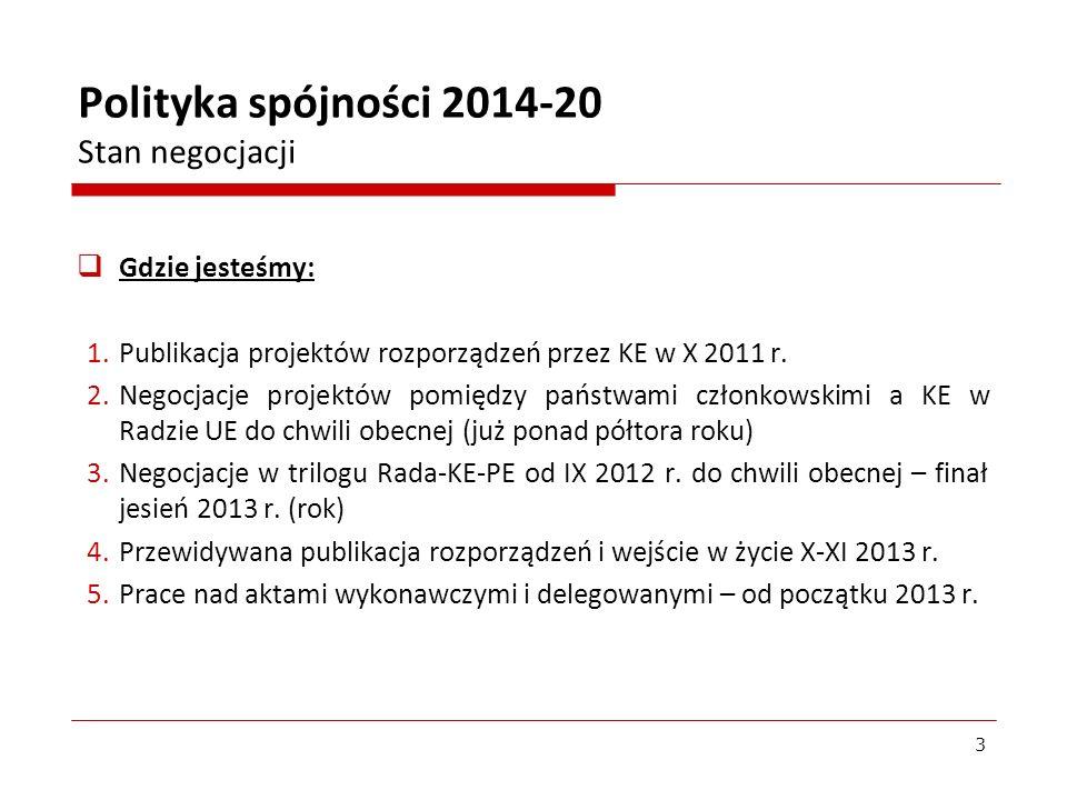 Polityka spójności 2014-20 Stan negocjacji